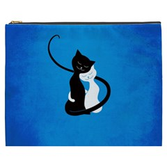Blue White And Black Cats In Love Cosmetic Bag (xxxl)