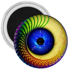 Eerie Psychedelic Eye 3  Button Magnet