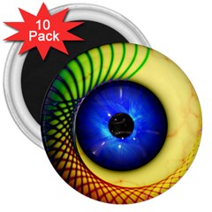 Eerie Psychedelic Eye 3  Button Magnet (10 Pack) by StuffOrSomething