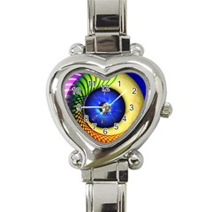 Eerie Psychedelic Eye Heart Italian Charm Watch  by StuffOrSomething