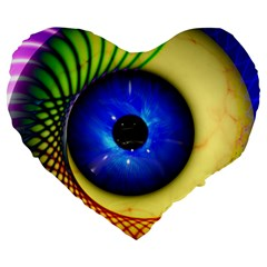 Eerie Psychedelic Eye 19  Premium Heart Shape Cushion by StuffOrSomething
