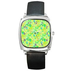 Summer Fun Square Leather Watch