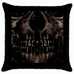 Skull Poster Background Black Throw Pillow Case by dflcprints