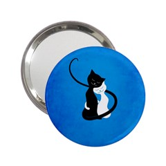 Blue White And Black Cats In Love Handbag Mirror (2 25 )