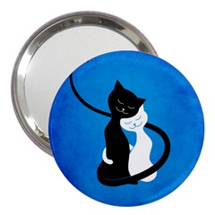 Blue White And Black Cats In Love 3  Handbag Mirror by CreaturesStore