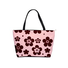 Pink With Brown Flowers Large Shoulder Bag by Khoncepts