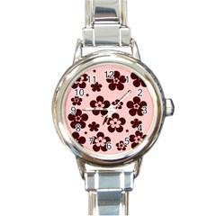 Pink With Brown Flowers Round Italian Charm Watch by Khoncepts