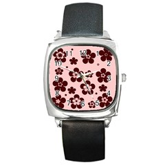 Pink With Brown Flowers Square Leather Watch by Khoncepts