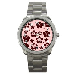 Pink With Brown Flowers Sport Metal Watch by Khoncepts