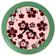 Pink With Brown Flowers Wall Clock (color)