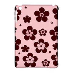 Pink With Brown Flowers Apple Ipad Mini Hardshell Case (compatible With Smart Cover)