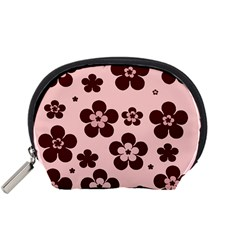 Pink With Brown Flowers Accessories Pouch (small) by Khoncepts