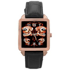 Skull Motif Ornament Rose Gold Leather Watch  by dflcprints