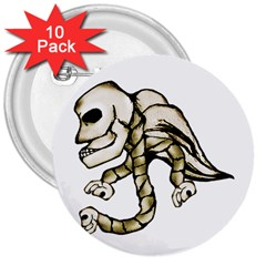 Angel Skull 3  Button (10 Pack) by dflcprints