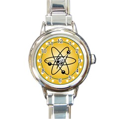Atom Symbol Round Italian Charm Watch by StuffOrSomething