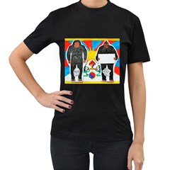 2 Yeti, 1 Text On Tibetan Flag, Women s T Shirt (black)