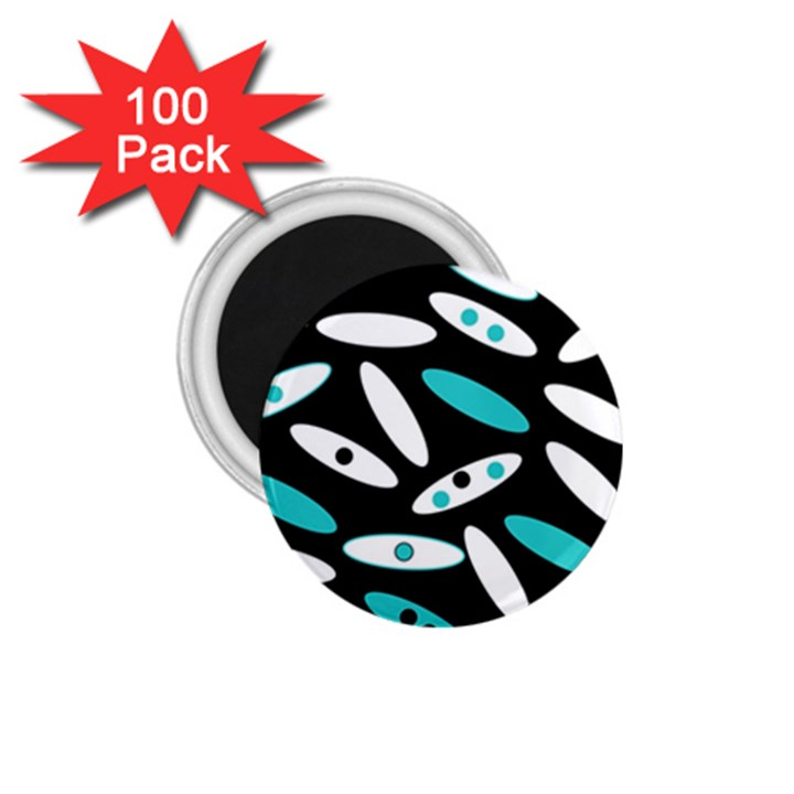 Black, White And Blue Circles By Celeste Khoncepts Com 1.75  Button Magnet (100 pack)