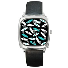 Black, White And Blue Circles By Celeste Khoncepts Com Square Leather Watch by Khoncepts
