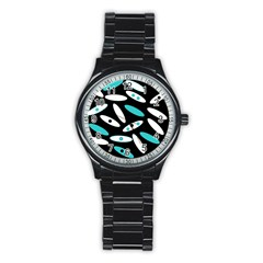 Black, White And Blue Circles By Celeste Khoncepts Com Sport Metal Watch (black)