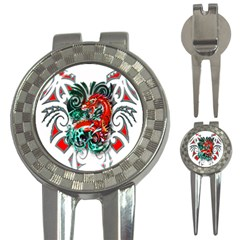 Tribal Dragon Golf Pitchfork & Ball Marker by TheWowFactor
