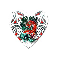 Tribal Dragon Magnet (heart) by TheWowFactor
