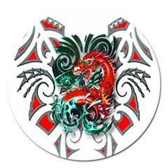 Tribal Dragon Magnet 5  (round) by TheWowFactor