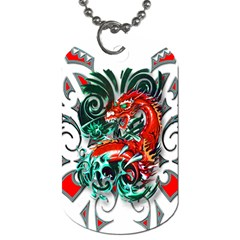 Tribal Dragon Dog Tag (two Sided)  by TheWowFactor