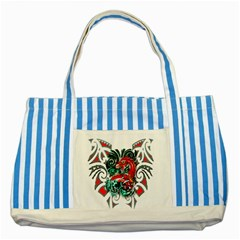 Tribal Dragon Blue Striped Tote Bag by TheWowFactor