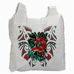 Tribal Dragon White Reusable Bag (two Sides)