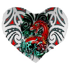 Tribal Dragon 19  Premium Heart Shape Cushion by TheWowFactor