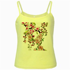 Cherry Bloom Spring Yellow Spaghetti Tank