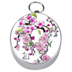 Cherry Bloom Spring Silver Compass