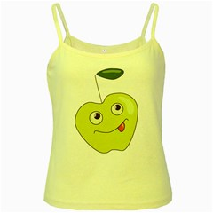 Cute Green Cartoon Apple Yellow Spaghetti Tank by CreaturesStore