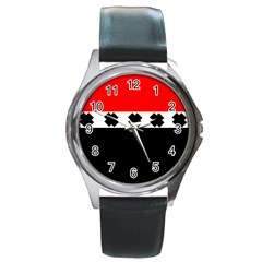 Red, White And Black With X s Design By Celeste Khoncepts Round Leather Watch (silver Rim) by Khoncepts