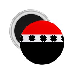 Red, White And Black With X s Design By Celeste Khoncepts 2 25  Button Magnet