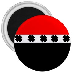 Red, White And Black With X s Design By Celeste Khoncepts 3  Button Magnet by Khoncepts