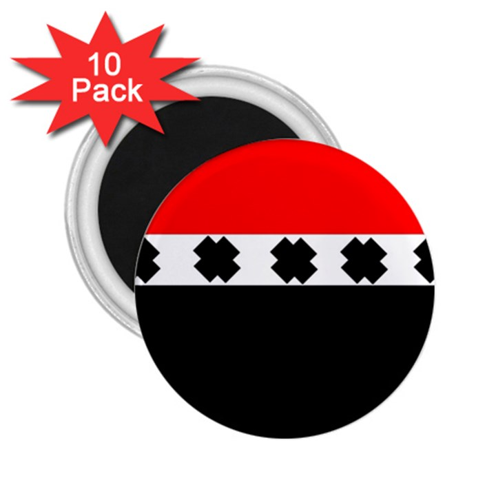 Red, White And Black With X s Design By Celeste Khoncepts 2.25  Button Magnet (10 pack)