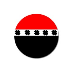 Red, White And Black With X s Design By Celeste Khoncepts Magnet 3  (round) by Khoncepts