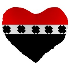 Red, White And Black With X s Design By Celeste Khoncepts 19  Premium Heart Shape Cushion