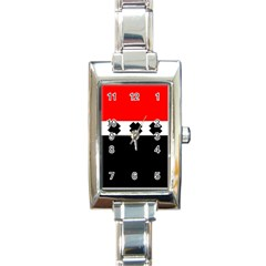 Red, White And Black With X s Design By Celeste Khoncepts Rectangular Italian Charm Watch by Khoncepts