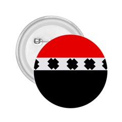 Red, White And Black With X s Design By Celeste Khoncepts 2 25  Button by Khoncepts