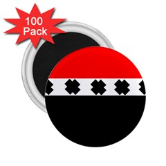 Red, White And Black With X s Design By Celeste Khoncepts 2 25  Button Magnet (100 Pack)