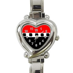 Red, White And Black With X s Design By Celeste Khoncepts Heart Italian Charm Watch  by Khoncepts