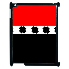 Red, White And Black With X s Design By Celeste Khoncepts Apple Ipad 2 Case (black) by Khoncepts