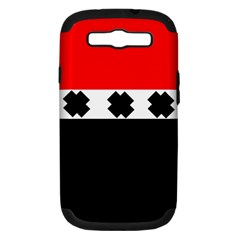 Red, White And Black With X s Design By Celeste Khoncepts Samsung Galaxy S Iii Hardshell Case (pc+silicone) by Khoncepts