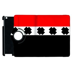 Red, White And Black With X s Design By Celeste Khoncepts Apple Ipad 2 Flip 360 Case by Khoncepts