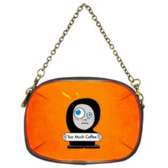 Orange Funny Too Much Coffee Chain Purse (one Side)