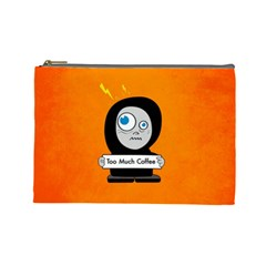 Orange Funny Too Much Coffee Cosmetic Bag (large)