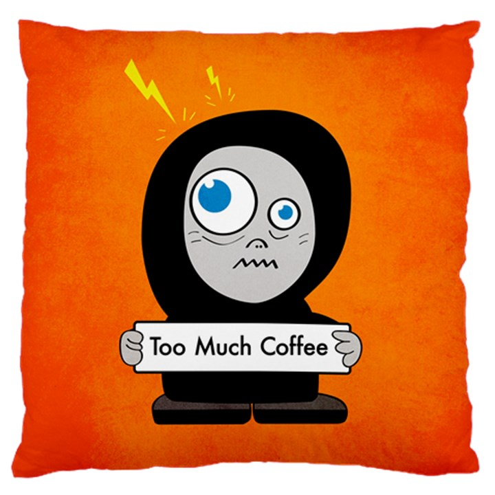 Orange Funny Too Much Coffee Large Cushion Case (Two Sided)