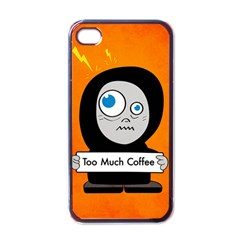 Orange Funny Too Much Coffee Apple Iphone 4 Case (black) by CreaturesStore